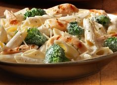Chicken Broccoli Alfredo  2-3 cooked chicken breasts, diced (I use a store bought rotisserie as usual). 1-2 cups fresh chopped broccoli, cooked and hot (I steam mine in the microwave) 1 box of Penne pasta (or your favorite pasta)