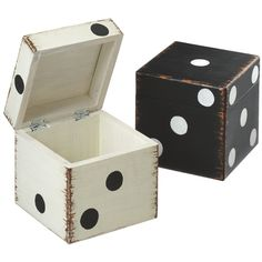 Dice Boxes- These would be great for a game room. Storage that can double as seating. Looks like a DIY to me!