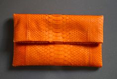 Orange Envelope Python Snakeskin Clutch by OngoingLoveAffair, on Etsy