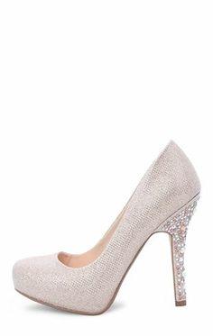 Deb Shops #Glitter Platform #Pump with Stone Trim Heel $27.93