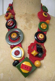 *LOVE* *LOVE* Bakelite Button Necklace by fleurdelis123