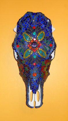 "Mosaic ""Bessy""  Recycled Cow skull, Murano glass beads, tile, glass, crash glass, folk art paint"