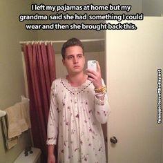 Funny Guy Selfie Grandma Pajamas Grandparents Family Humor