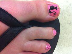 Pink Barbie toenail.