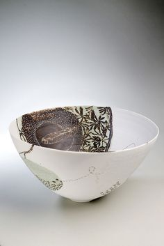 Shannon Garson, Feather Bowl, 2012    Porcelain, terra sigilata , glaze, underglaze,oxide.    13 cm high, 24cm wide, 24 cm deep    Photography: Megan Slade