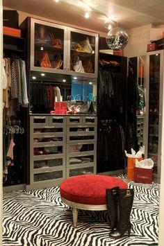 decorating with a disco ball, custom closet, dressing room, zebra rug, feminine interior