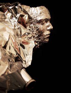 your face in aluminum foil