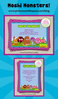 Moshi Monsters party | Moshi Monsters invitations | Moshi Monsters thank you cards    #moshimonstersparty #moshimonstersinvitations