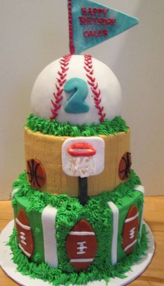 Sports Birthday Cake #Kids #Birthday #Party