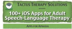 Tactus Therapy Solutions' PDF of 100+ Apps for Adult Speech-Language Therapy WITH LINKS to each of the listed apps.  Thanks, Megan Sutton!