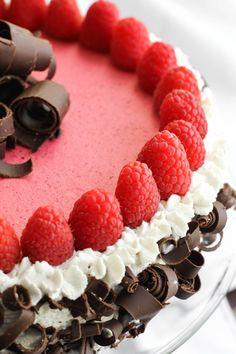 Chocolate-Raspberry Bavarian Torte. This looks amazing! #food #raspberries #cakes #tortes