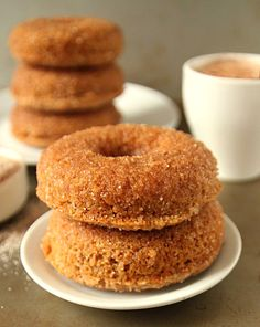 "Whole Wheat Cinnamon Sugar Baked Doughnuts - Because ""WHOLE WHEAT"" makes this a health food!"