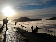 Pic taken from mount Fløyen near Bergen, Norway a couple hours ago.  The mountains trap the fog. Photo by Hatkake