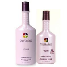 Pureology Hydrate  This shampoo and conditioner makes your scalp feel tingly even after the shower! It gently cleanses without stripping color. TheZeroSulfate formula delivers a rich lather while infusing hair with essential hydration and color protection.