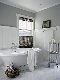 baths, grey walls, bathtub, gray walls, paint colors, bathroom designs, bathroom ideas, white bathrooms, design bathroom