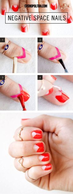 Nail Art How-To: Modern Negative Space Mani - Nail artist Simcha Whitehill aka Miss Pop shows you exactly how to recreate this negative space mani, so you get ultra-positive feedback.