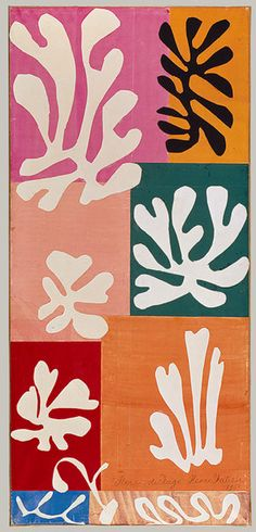 """Snow Flowers"" in 1951 by Henri Matisse. Watercolor and gouache on cut and pasted papers."