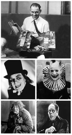 Lon Chaney, his bag of tricks and just a few of his many faces - c. 1920s  London After Midnight (1927), He Who Gets Slapped (1924), The Hunchback of Notre Dame (1923), and The Phantom Of The Opera (1925) .