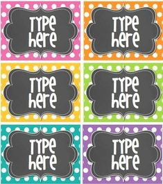 6 Blank Editable Polka Dot Tags/ Labels. You will need to have POWERPOINT to add your own text to the tags/ labels.  You will be able to save the labels/tags with your text on it. Just go to file and save!