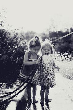 little girls, memori, remember this, water fun, little sisters, summer fun, friend, kid, hot summer