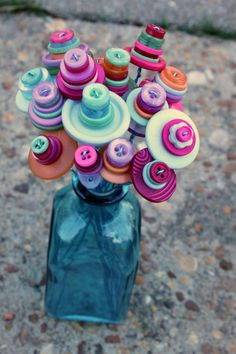 Button Flowers with Turquoise Vase