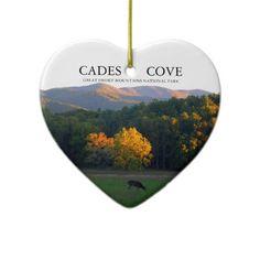 Love Cades Cove ~ Great Smoky Mountains National Park ~ Heart shaped Christmas tree ornament decor ~ deer, doe, buck, wildlife.