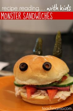 recipe reading for kids: fun learning in the kitchen with monster sandwiches #halloween #kidfood