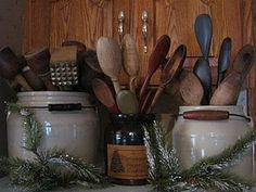 kitchen gadgets, idea, kitchen utensil, antiqu kitchen, primit decor, spoon, crock, old kitchens, countri