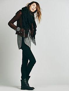 leggings, boots, leather jacket