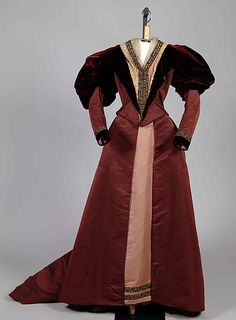Beaded burgundy and pink silk satin and velvet afternoon dress, American, ca. 1895.