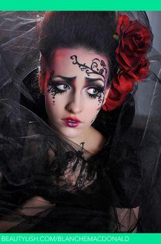 . gothic beauti, burton inspir, halloween idea, tim burton makeup, dark beauti, gothic rose, makeup inspir, rose makeup, tim burtoninspir