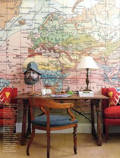 A Sachs Lindores design.  Antique map blown up and used as wallpaper.  Love this as pirate themed room for a little boy!  House Beautiful.