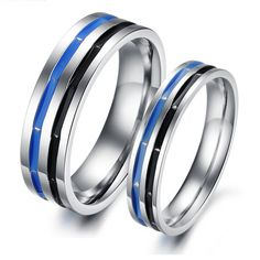 Blue black never fade steel commitment couple rings - $14