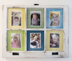 DIY Antique Window Photo Frame - I am in love with this old window turned photo display!