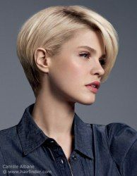 Short hairstyle with a rounded back