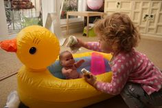 Toddler Practical Life Activity - Bathing a baby doll (learn hygiene skills as well as nurturing skills)