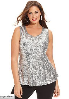 December 17th Launch: Silver Sequin Peplum top by INC. Available in 0X-3X