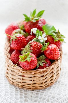 Basket full of strawberries.