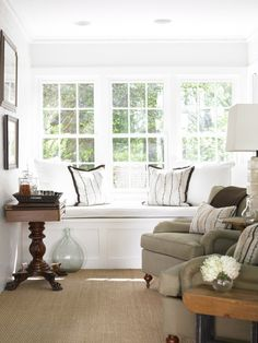 interior design, window benches, living rooms, bay windows, window seating, nook, living room window, window seats, sunroom