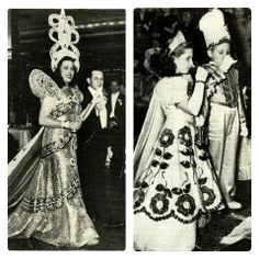 Many Presidents, royalty from around the world, and New Orleans' own kings and queens of Carnival have added sparkle to The Roosevelt Hotel.  Picture on the left: Queen of the Krewe of Athenians as she was escorted during the Grand March in the ballroom.  Picture on the right: King-Once-Upon-a-Time and The Queen rulers of the Children Carnival Club drinking a toast in 7-Up.