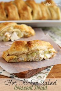 Hot Chicken Salad Crescent Braid ~ Flaky Crescent Rolls Stuffed with Chicken, Celery, Cheese, Almond and Chow Mein Noodles! on MyRecipeMagic.com