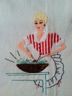 1950s RETRO Kitchen Linen Tea Towel Hand Embroidered and Appliqued