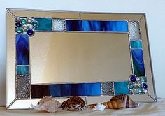 Stained Glass Mirror  Beach Bubbles by StainedGlassStudio on Etsy, $95.00