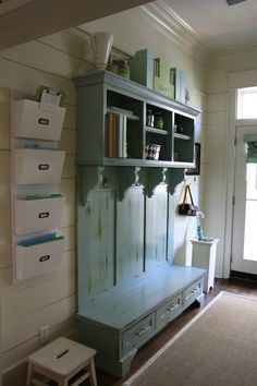 mudroom, school organization, bench, color, mud rooms, door, hallway, hall trees, entryway