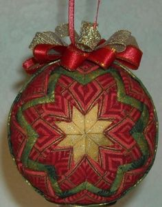 Handmade Quilted Folded Star Ball Ornament Christmas | eBay