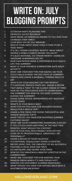 blog writing prompts for july