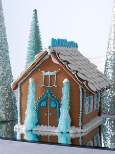 A traditional gingerbread house, but with an icy blue look that's ideal for a winter wonderland.