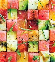 watermelon, avocado salad
