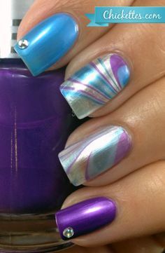 Water Marble Nail Art. Love this!