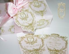 la pink paperie The blog for Paper Nosh: Luscious Marie Antoinette Pink and Gold Silhouette...